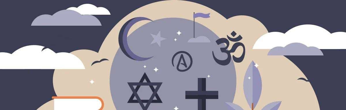 Picture displaying 6 different religion symbols on a gray and tan background with white cotton clouds.