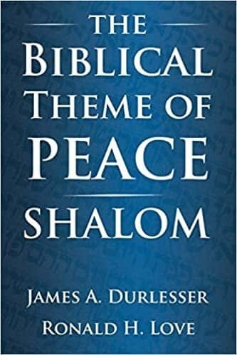 Solid dark blue book cover with white letters stating The Biblical Theme of Peace, Shalom.