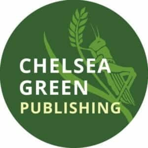 Large green circle showing grasshopper climbing a wheat stem advertising Chelsea Green Publishing.